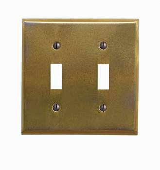Antique Brass Finish Over Stainless Steel Double Toggle Switch Plate