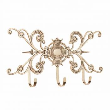 Triple Brass Coat Hook Baroque Unique Ornate 20687list