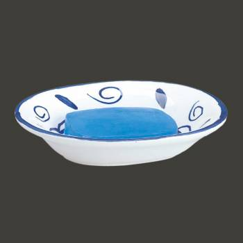<PRE>Bathroom Soap Dishes Blue/White Neptune Ceramic Dish </PRE>zoom2