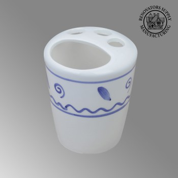 Bathroom Toothbrush Holder Blue White Ceramic Holder