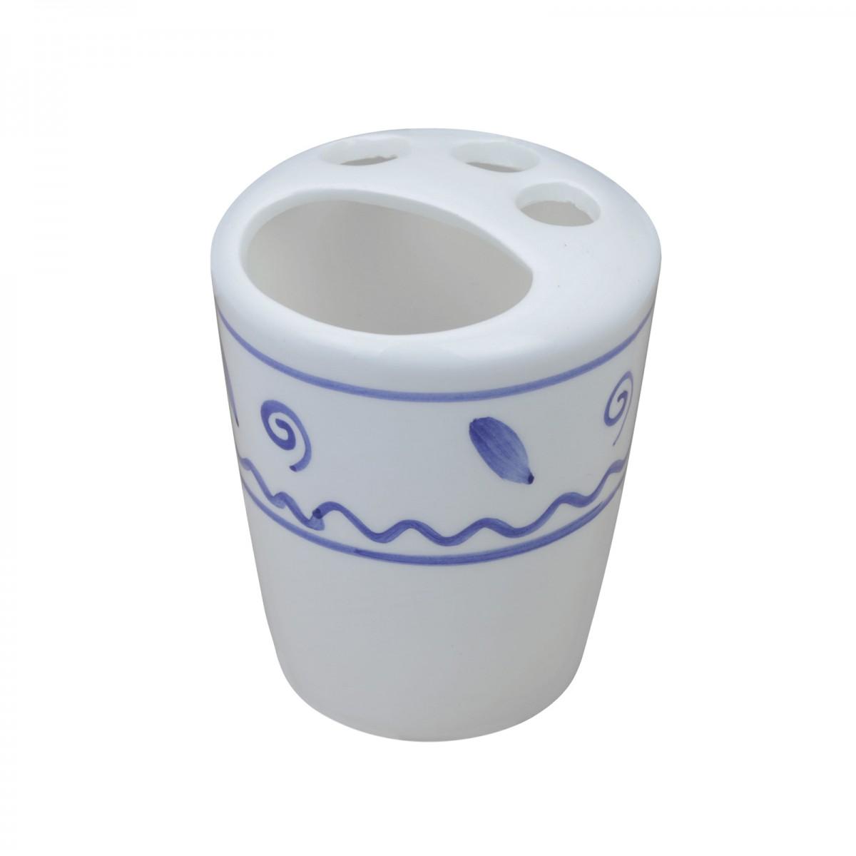Bathroom Toothbrush Holder Blue/White Ceramic Holder