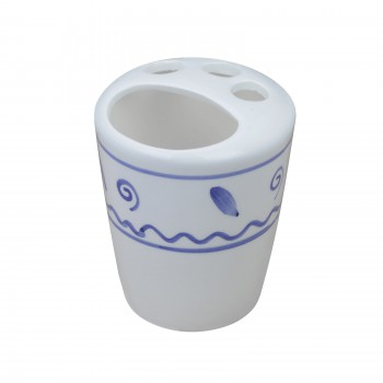 Bathroom Toothbrush Holder BlueWhite Ceramic Holder