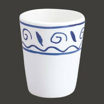 <PRE>Bathroom Cup Tumbler White &amp; Blue Nepture Ceramic </PRE>