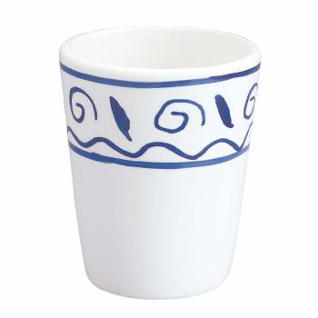 Bathroom Cup Tumbler White  Blue Nepture Ceramic