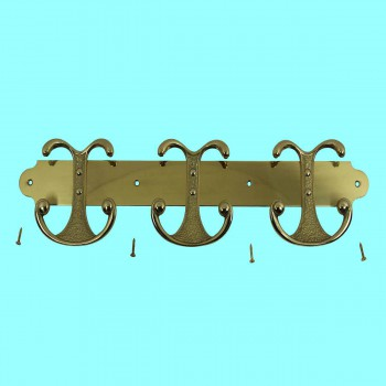 Brass Coat Hook 3 double Hook Plate Brass Coat Hooks Coat Hook Gold Robe Hooks