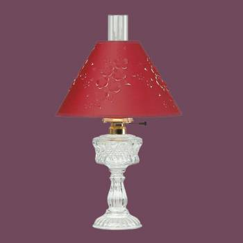 <PRE>Table Lamp Clear Cut Glass Lamp Burgundy Paper Shade </PRE>zoom2