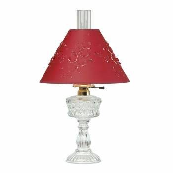 <PRE>Table Lamp Clear Cut Glass Lamp Burgundy Paper Shade </PRE>zoom1
