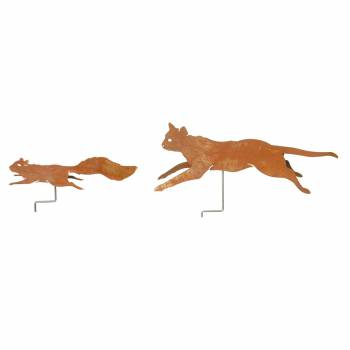 Rust Metal Garden Cat and Squirrel Set 20776grid