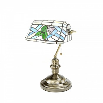 Table Lamp Antique Brass Style Stained Glass 14
