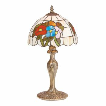 Table Lamp Antique Brass  Style Stained Glass 19