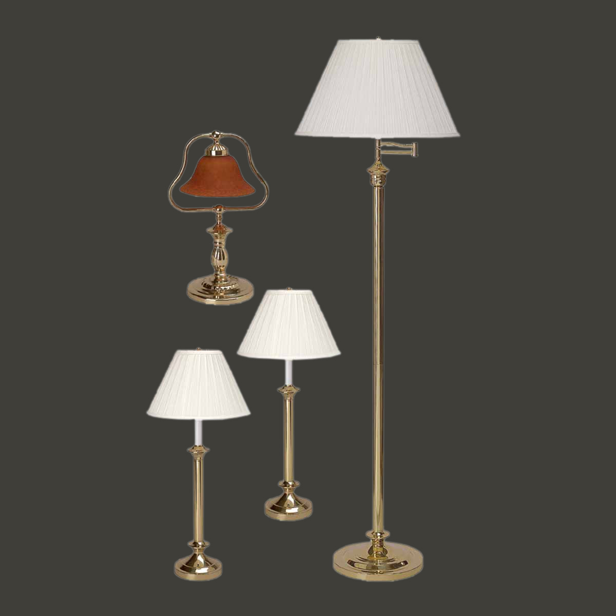 Floor lamp bright brass traditional 4 pc lamp set tablefloor lamp bright brass traditional 4 pc lamp set aloadofball Image collections