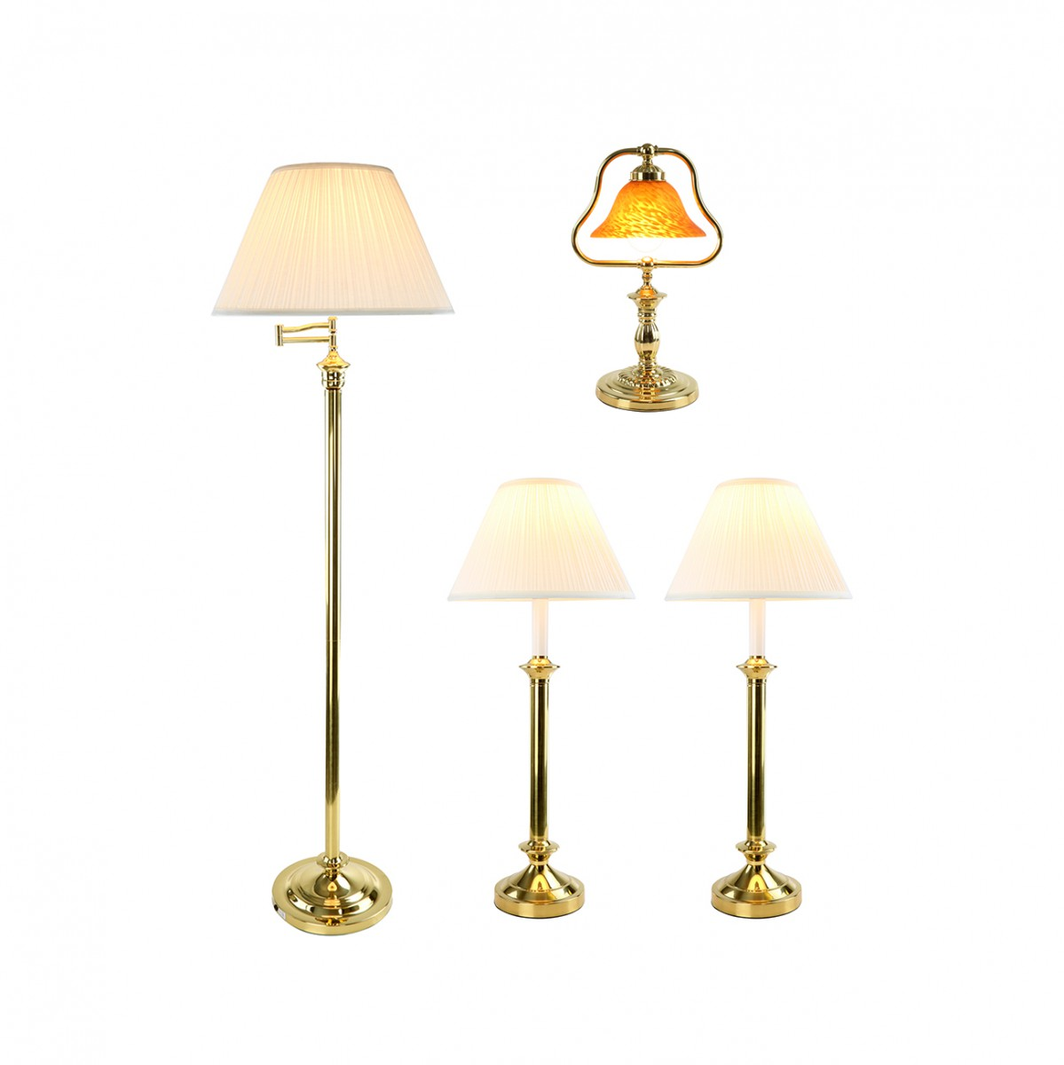 Traditional floor lamp - Table Floor Lamp Bright Brass Traditional 4 Pc Lamp Set