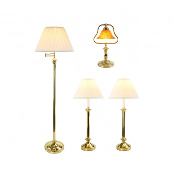 TableFloor Lamp Bright Brass Traditional 4 pc Lamp Set