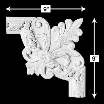 spec-<PRE>Door Trim White Urethane Foam Corner 9&quot; H X 9&quot; W  </PRE>