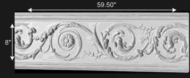 spec-<PRE>Crown Molding White Urethane 8&quot; Paris Ornate  </PRE>