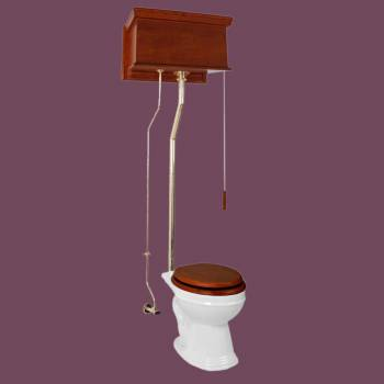 Mahogany Flat High Tank Pull Chain Toilet Round White China Bowl And Brass LPipe High Tank Pull Chain Toilets High Tank Toilet with Round Bowl Pull Chain Toilets