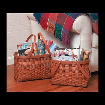 <PRE>Magazine Rack Two Wood Baskets </PRE>zoom3
