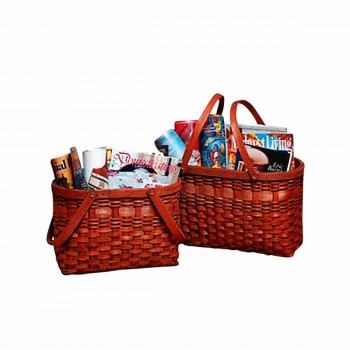 Magazine Rack Two Wood Baskets 20917grid