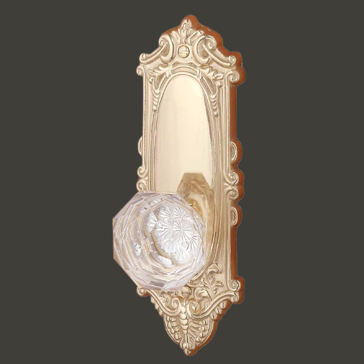 Door Knob Clear Glass W Brass Victorian Passage Set 2 3 8 Quot