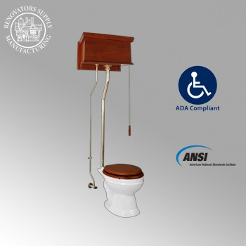 Mahogany High Tank Pull Chain Toilet With White Elongated Toilet Bowl High Tank Pull Chain Toilets High Tank Toilet with Elongated Bowl Old Fashioned Toilet