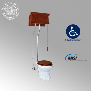 <PRE>Mahogany High Tank Pull Chain Toilet With White Elongated Bowl and Chrome L-Pipe</PRE>zoom2