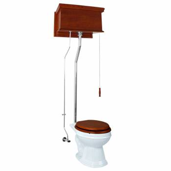 Mahogany High Tank Pull Chain Toilet With White Elongated Bowl and Chrome LPipe High Tank Pull Chain Toilets High Tank Toilet with Elongated Bowl Old Fashioned Toilet