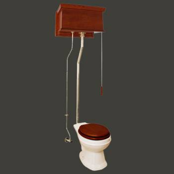 Mahogany Flat Panel High Tank Pull Chain Toilet With Round Biscuit China Bowl High Tank Pull Chain Toilets High Tank Toilet with Round Bowl Pull Chain Toilets
