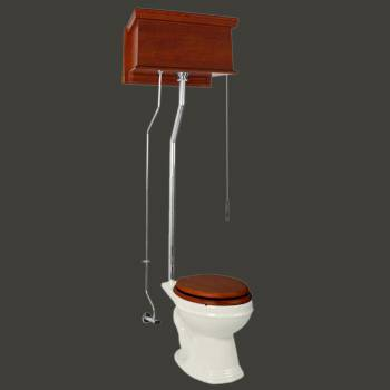 <PRE>Mahogany High Tank Pull Chain Water Closet With Bone Round Toilet Bowl</PRE>zoom2