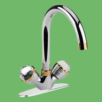 <PRE>Bathroom Faucet Chrome 10 7/8inchH W/ Widespread Plate 2 Handles</PRE>zoom2