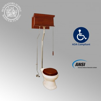 Mahogany High Tank Pull Chain Toilet With Biscuit Elongated Bowl And Brass Pipe High Tank Pull Chain Toilets High Tank Toilet with Elongated Bowl Old Fashioned Toilet