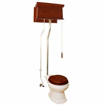 Mahogany High Tank Pull Chain Toilet With Biscuit Elongated Bowl And Brass Pipe20949grid