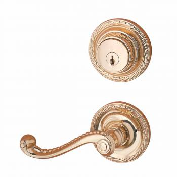 Door Lock Bright Solid Brass Roped Lever Handles Lock Set