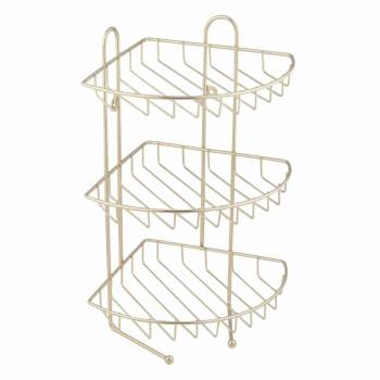 3 Tier Corner Wire Basket Brass Rack 20973grid