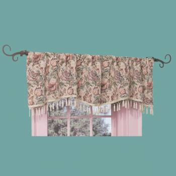 Valance Floral Cotton Poly Pocket Rod 56L x 18H Window Valance Cotton Valances Valance