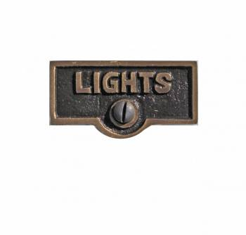 Switch Plate Tags LIGHTS Name Signs Labels Antique Brass 20989grid