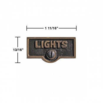 spec-<PRE>Switch Plate Tags LIGHTS Name Signs Labels Antique Brass </PRE>