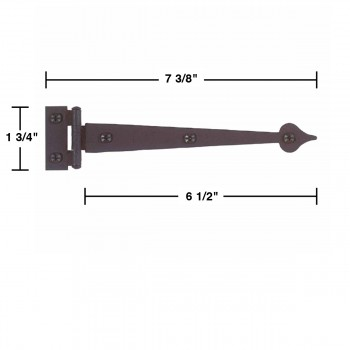spec-<PRE>Pair Spear Flush Door Hinge Iron 7 3/8&quot; H </PRE>