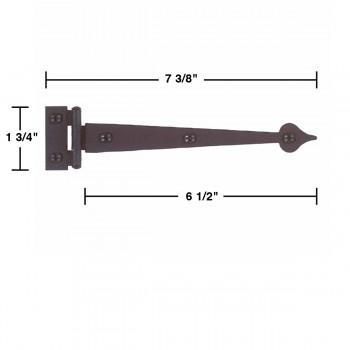 """spec-<PRE>Pair Spear Flush Door Hinge Iron 7 3/8"""" H </PRE>"""