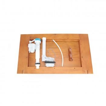 <PRE>High Tank Pull Chain Toilet Bone Elongated Flat Mahogany Wood Tank</PRE>zoom8