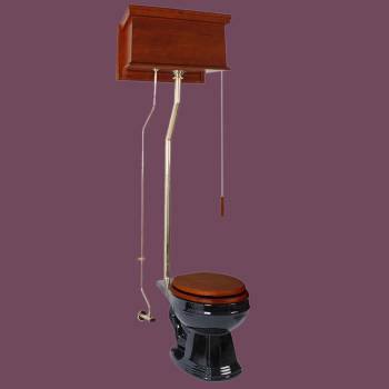 Mahogany High Tank Pull Chain Toilet with Black Round Toilet Bowl And Brass Pipe High Tank Pull Chain Toilets High Tank Toilet with Round Bowl Pull Chain Toilets