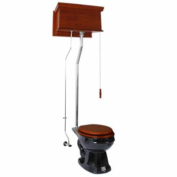 Mahogany High Tank Pull Chain Toilet With Black Round Bowl And Chrome Pipe21080grid