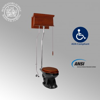 <PRE>Mahogany High Tank Pull Chain Water Closet With Elongated Toilet Bowl</PRE>