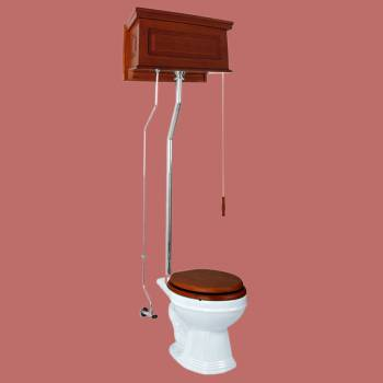 <PRE>Mahogany High Tank Pull Chain Toilet With White Round Bowl And Chrome Pipe</PRE>zoom2