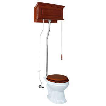 <PRE>High Tank Toilet Mahogany Raised Panel Tank Elong. White China Bowl Chrome LPipe</PRE>