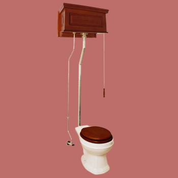 <PRE>Mahogany Finish Raised Panel High Tank Pull Chain Toilet With Bone Round Bowl</PRE>zoom2