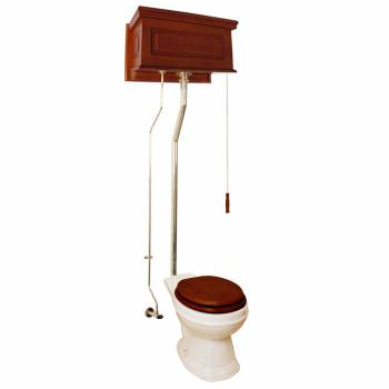 Mahogany Finish Raised Panel High Tank Pull Chain Toilet With Bone Round Bowl21099grid