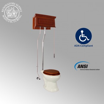 <PRE>Mahogany High Tank Pull Chain Toilet With Bone Elongated Toilet Seat Raisd Panel</PRE>zoom2