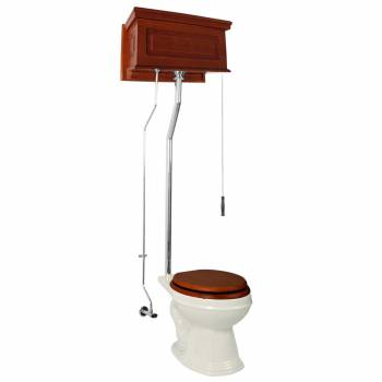 Mahogany High Tank Pull Chain Toilet With Bone Elongated Toilet Seat Raisd Panel21104grid