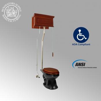 <PRE>Mahogany Raised High Tank Pull Chain Toilet With Black China Elongated Bowl</PRE>