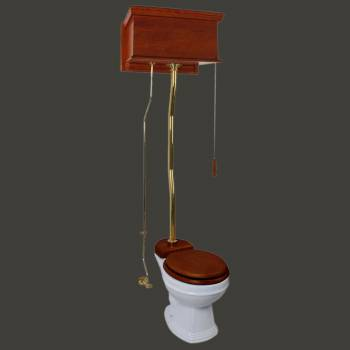 <PRE>Mahogany High Tank Pull Chain Toilet With White Toilet Bowl And Flat Z-Pipe</PRE>zoom2